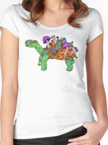 Rainbow Mushroom Tortoise  Women's Fitted Scoop T-Shirt