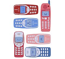 Vintage Cellphone Reactions Photographic Print