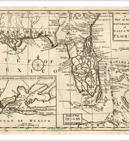 American Revolutionary War Era Maps 1750-1786 103 A map of the new governments of East & West Florida Sticker