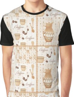 Retro seamless pattern with jug of milk and mug beige background Graphic T-Shirt