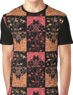 Patchwork seamless lace retro floral hearts Graphic T-Shirt