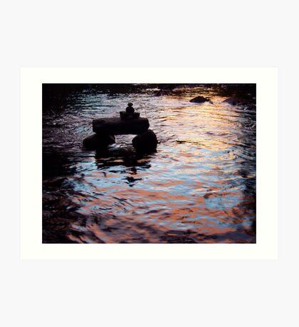 Sunset River Watcher Art Print