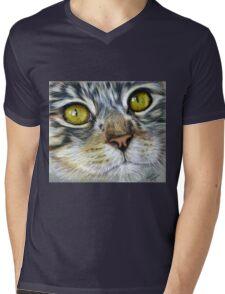 Blink Macro Cat Painting Mens V-Neck T-Shirt