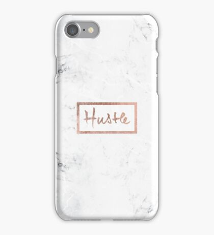Modern hustle typography rose gold white marble iPhone Case/Skin