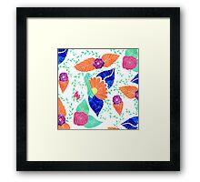 Modern coral blue purple floral pattern Framed Print