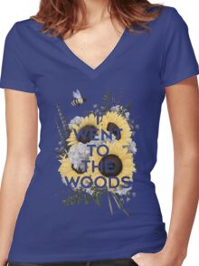 I Went to the Woods Women's Fitted V-Neck T-Shirt