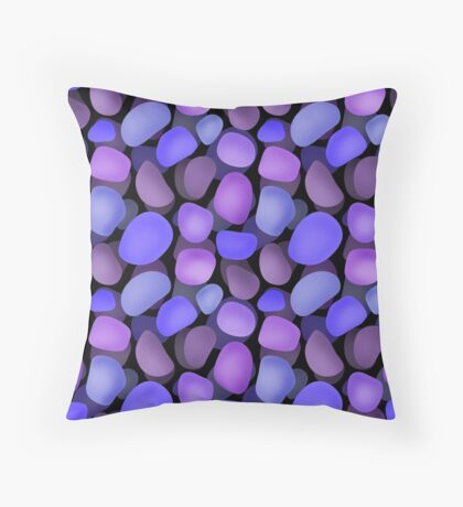 Seamless rock purple blue stones for design Throw Pillow