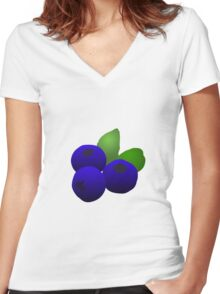 Blueberries Women's Fitted V-Neck T-Shirt