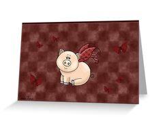 Checkered Piggy Greeting Card