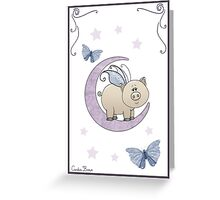 Piggy on the Moon II Greeting Card