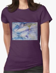 Waterspouts, Tornadoes at Sea - Original Wall Modern Abstract Art Painting Original mixed media  Womens Fitted T-Shirt