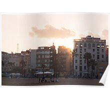 Sunset through the old barrio - Barcelona Poster