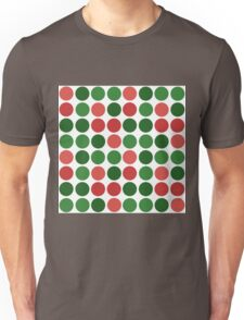 Abstract simple green red circles seamless pattern on white Unisex T-Shirt