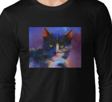 Meesha Colourful Cat Painting Long Sleeve T-Shirt