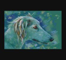 Saluki Dog Portrait Painting Kids Tee