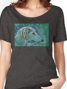 Saluki Dog Portrait Painting Women's Relaxed Fit T-Shirt