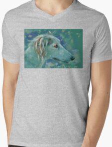 Saluki Dog Portrait Painting Mens V-Neck T-Shirt