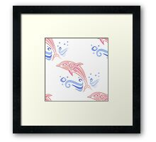 Dolphin Leaping Ocean Waves Pastel Pink Blue Framed Print