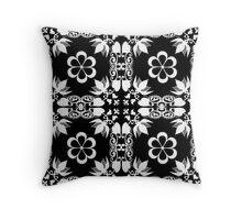 Ornamental seamless pattern damask arabesque white elements texture black Throw Pillow