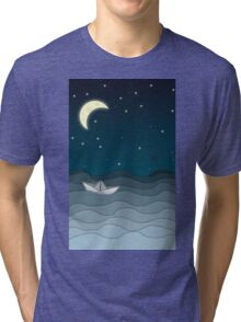 A paper boat by moonlight Tri-blend T-Shirt