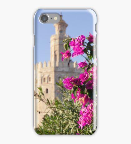 Seville - Torre del Oro between flowers iPhone Case/Skin