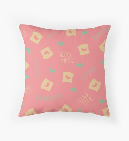 Duck Bread Pattern - Pink Throw Pillow