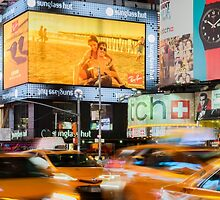 Taxis In Times Square by Randy  LeMoine