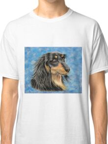 Marcus - Long Haired Black and Tan Dachshund  Classic T-Shirt