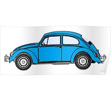 Beetle, Bug, VW, Volkswagen, Motor, Car, BLUE Poster