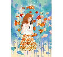 Fish in the rain 魚と雨 Photographic Print