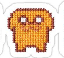 Adventure time! 8-bit Cross stitch,  Fin, Jake and Beemo Sticker