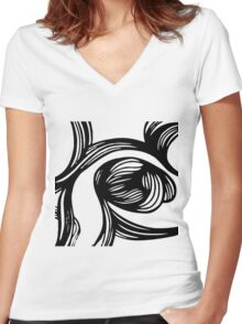 flower #1 in B&W Women's Fitted V-Neck T-Shirt