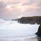 giant white waves and cliffs on the wild atlantic way by morrbyte
