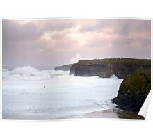 giant white waves and cliffs on the wild atlantic way Poster