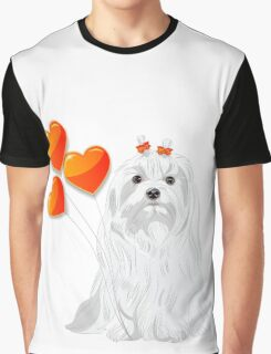 Valentine card with a dog Maltese Graphic T-Shirt
