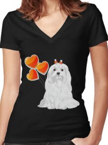 Valentine card with a dog Maltese Women's Fitted V-Neck T-Shirt