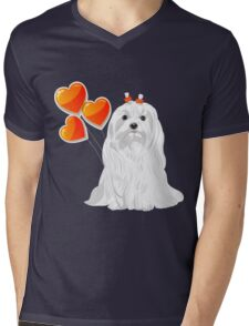 Valentine card with a dog Maltese Mens V-Neck T-Shirt