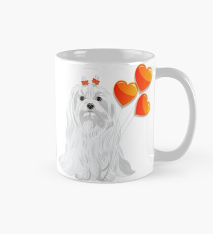 Valentine card with a dog Maltese Mug