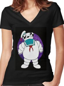 Mr Stay puft marshmallow man Women's Fitted V-Neck T-Shirt