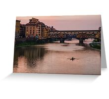 Impressions Of Florence - Ponte Vecchio Rowing In Rose Quartz Pink Greeting Card