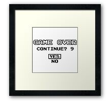 Game Over Geek Gaming Nerd Retro PC NES SNES PlayStation XBOX SEGA Framed Print