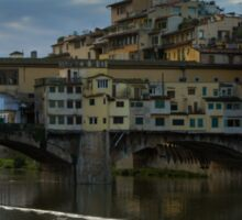 Light Trails on the Arno - Florence, Italy Sticker