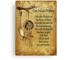 "Native American Indian ""Cree Prophecy"" Canvas Print"