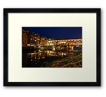 Impressions Of Florence - Ponte Vecchio Evening Framed Print