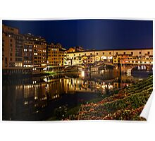 Impressions Of Florence - Ponte Vecchio Evening Poster