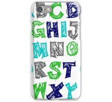 Alphabet for Baby's Room Green Aqua Blue Grey Kid's decor iPhone Case/Skin