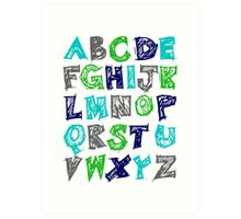 Alphabet for Baby's Room Green Aqua Blue Grey Kid's decor Art Print