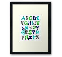 Alphabet for Baby's Room Green Aqua Blue Grey Kid's decor Framed Print