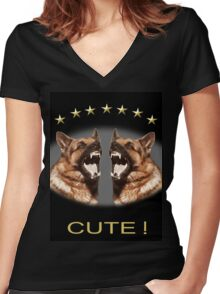 Cute Alsatian Women's Fitted V-Neck T-Shirt