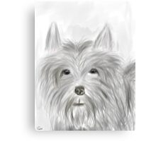 Cute Terrier Sketched Drawing Canvas Print